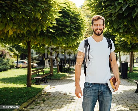 istock Student with backpack outside 496258750