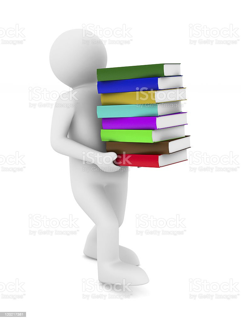 student with bale books. Isolated 3D image royalty-free stock photo