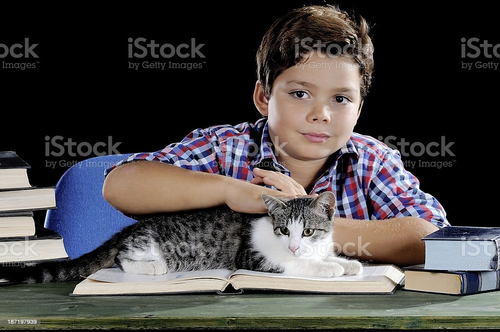 Student with cat royalty-free stock photo