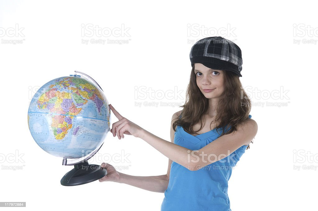 Student with Globe stock photo