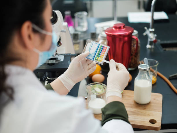 Student with gloves examining foods stock photo