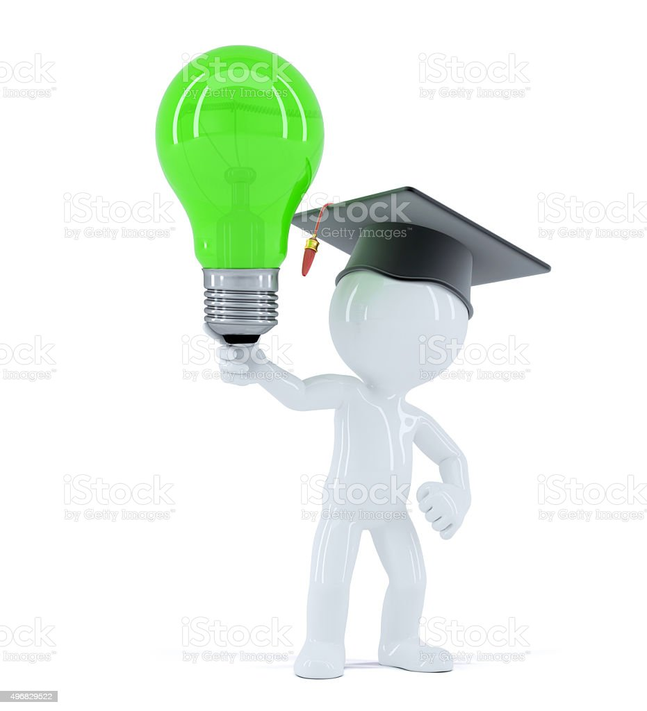 Student with green light bulb stock photo