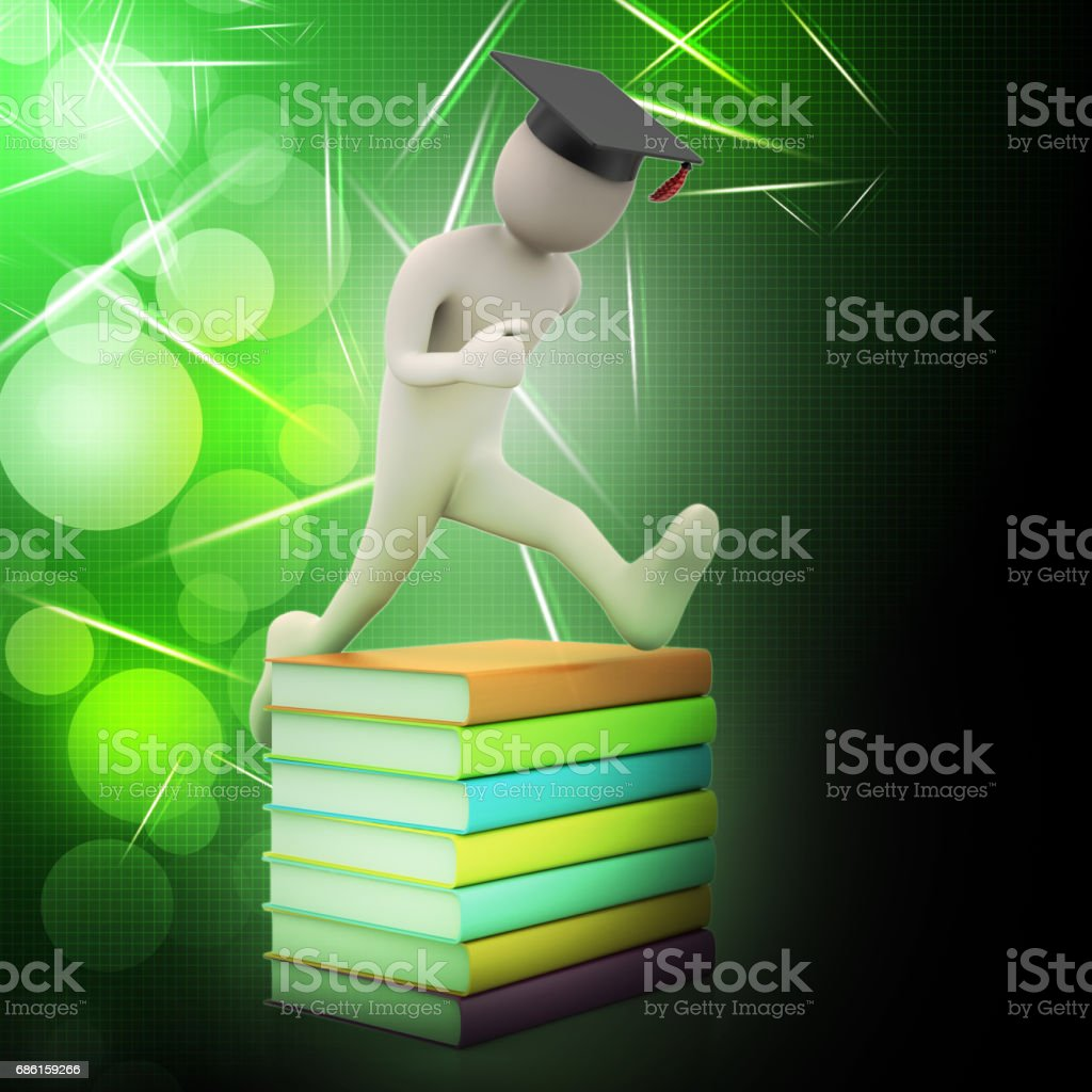 Student with hat Jumping of joy holding diploma. stock photo