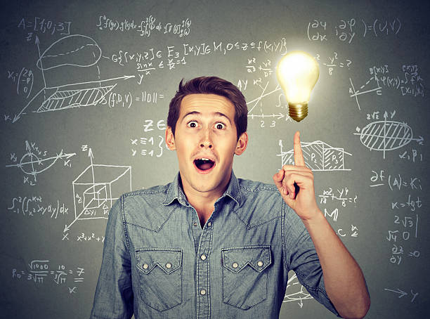 student with idea light bulb high school maths formulas smart student with idea light bulb and various high school maths and science formulas on background aha stock pictures, royalty-free photos & images