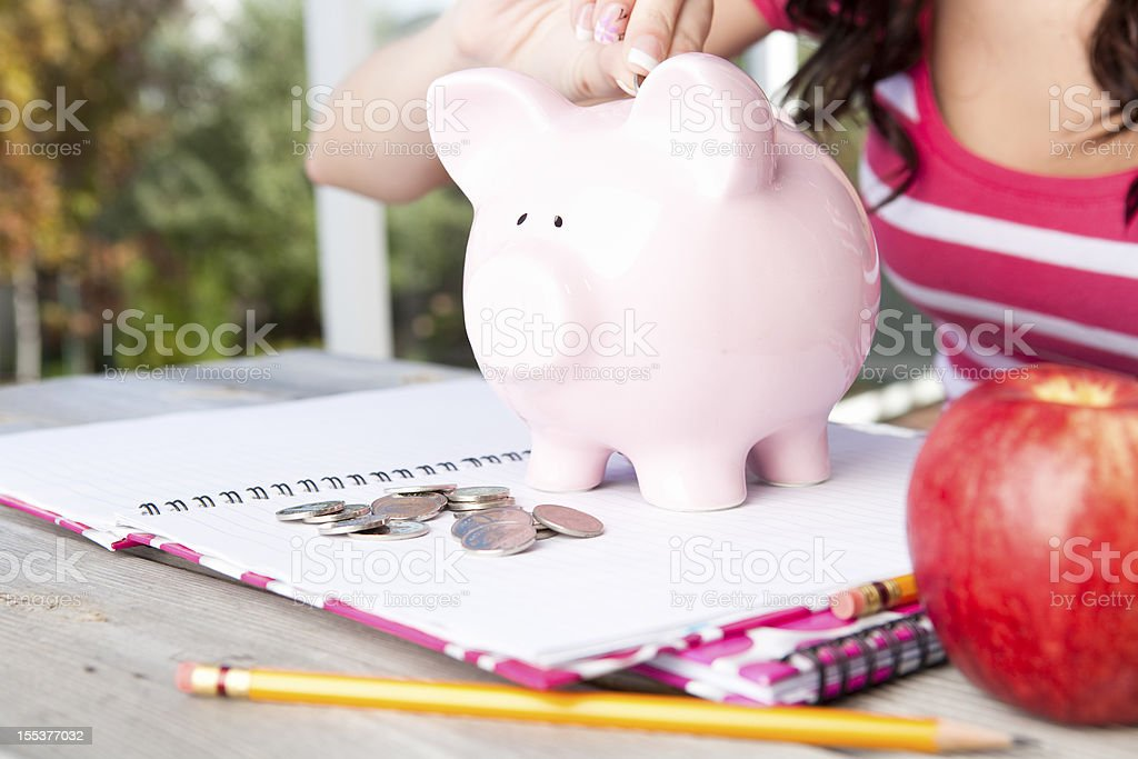 Student with piggy bank, notebooks and apple stock photo