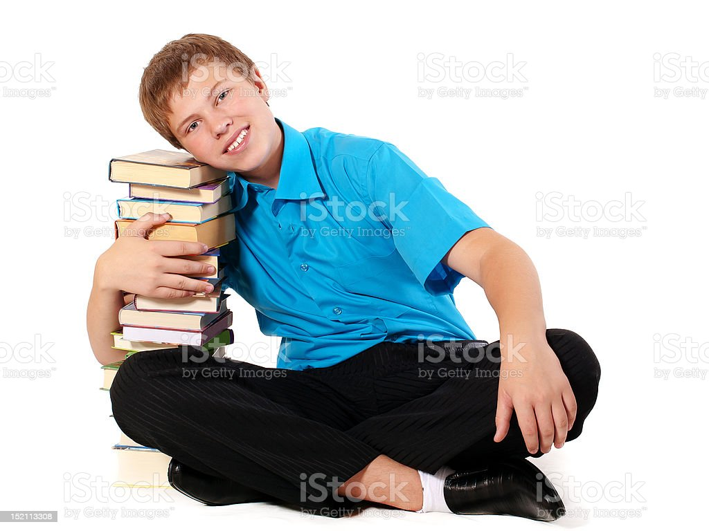 Student with pile of books royalty-free stock photo