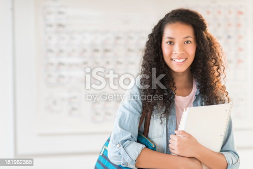 istock Student With Shoulder Bag And Books In Chemistry Class 181962365