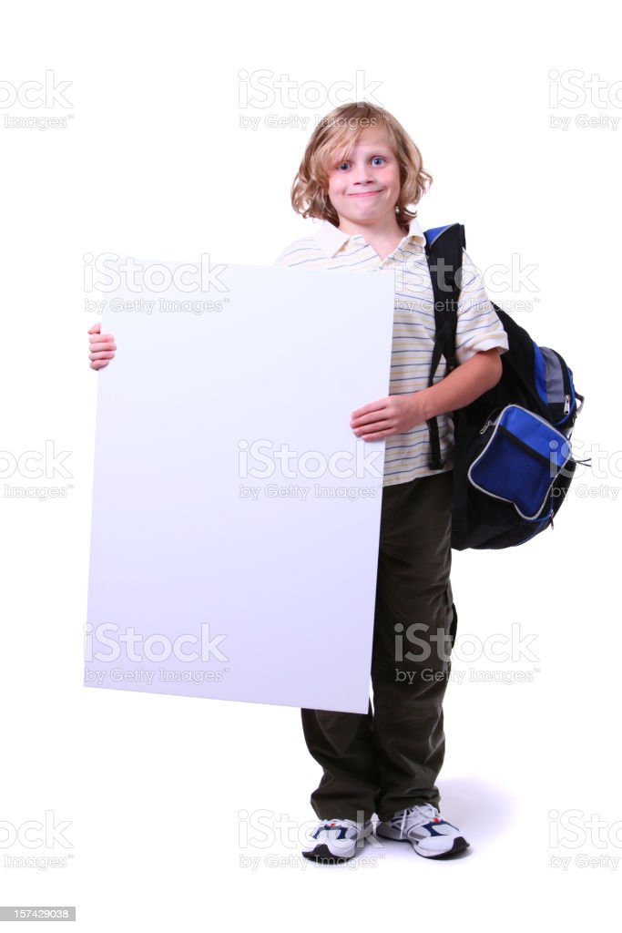 student with sign royalty-free stock photo