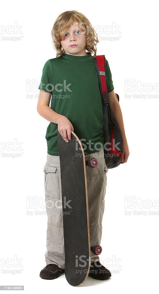 student with skateboard stock photo