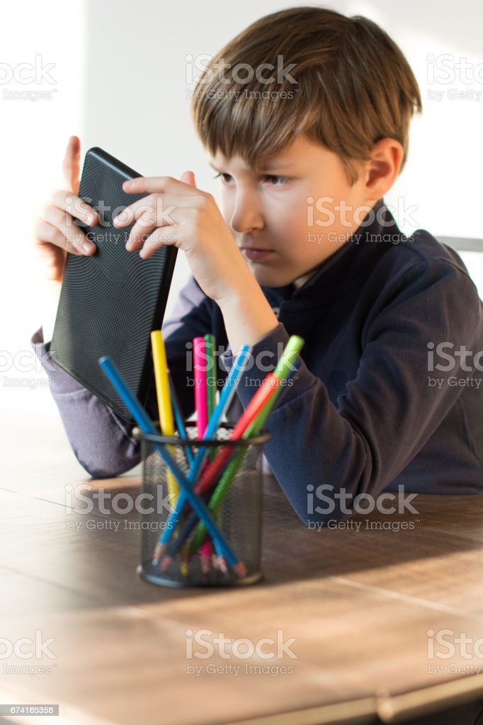 Student with tablet stock photo