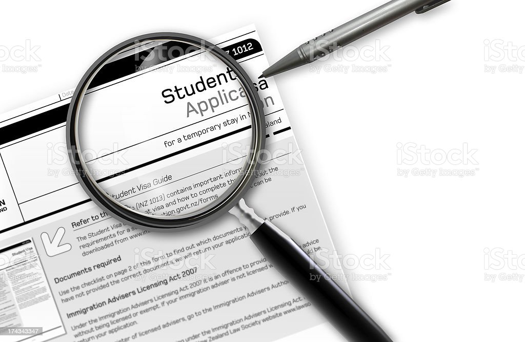student work Visa Application stock photo