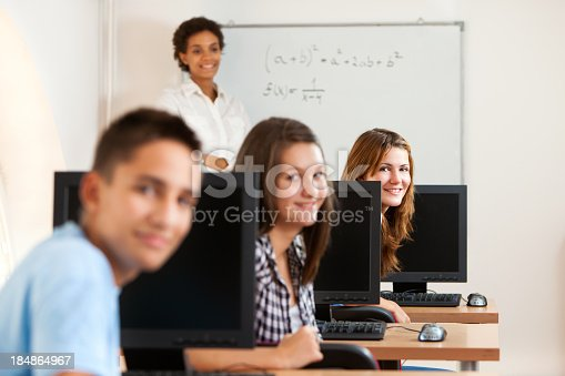 istock Students and teacher on math class 184864967