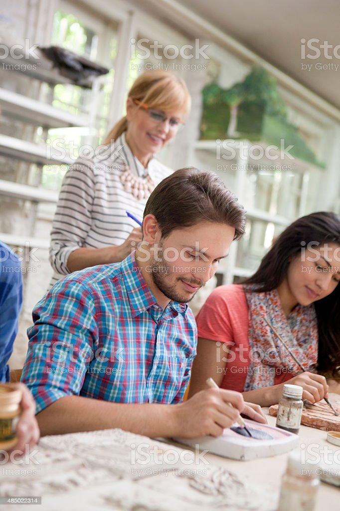 Students at arts classes stock photo