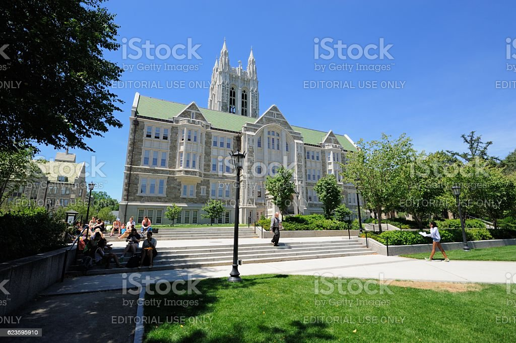 Students at Boston College stock photo