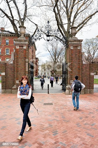 683709204istockphoto Students at Entrance gate into Harvard Yard of Cambridge 683729694
