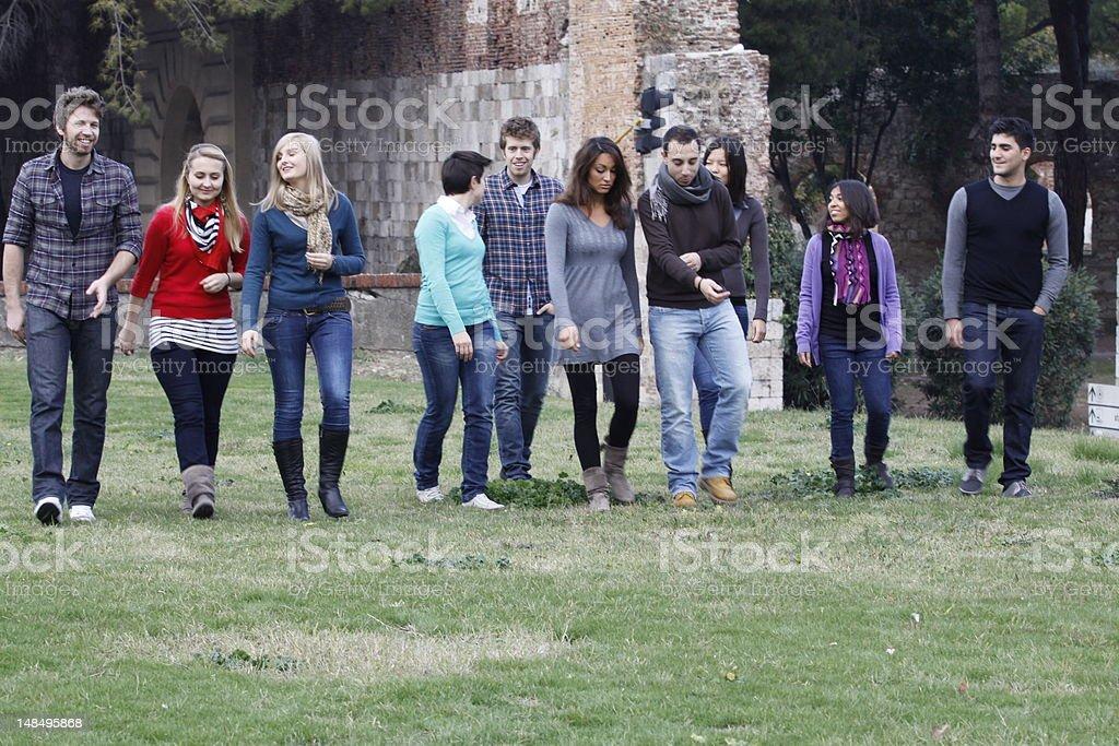 students at park stock photo