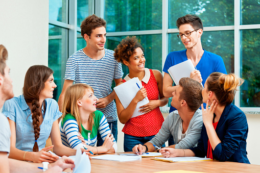 Students At The College Stock Photo - Download Image Now