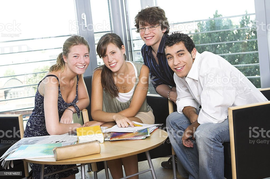 Students at the library royalty-free stock photo