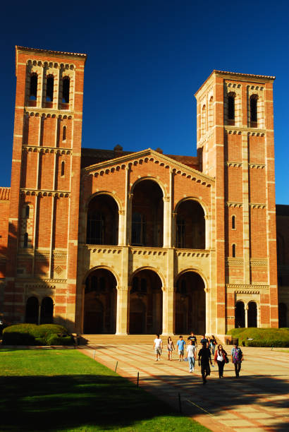 Students at UCLA Los Angeles, CA, USA September 23, 2008 Students head to and from historic Royce Hall on the UCLA campus in Los Angeles, California royce hall stock pictures, royalty-free photos & images
