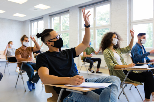 Students at university during coronavirus pandemic