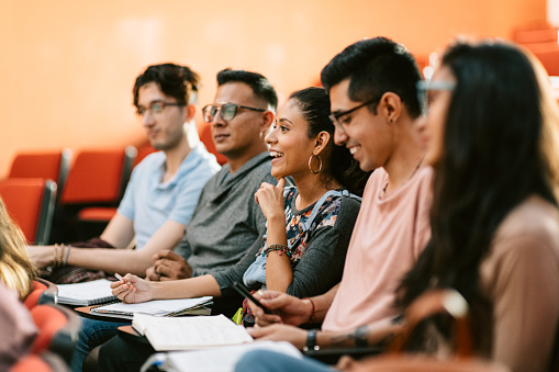 Students attending a lesson in lecture hall