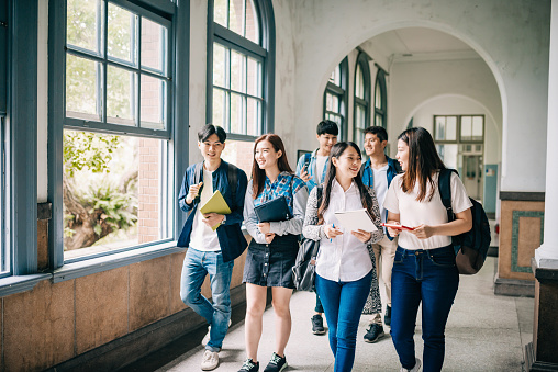 Asian students are back to the high schools and universities after coronavirus lockdown