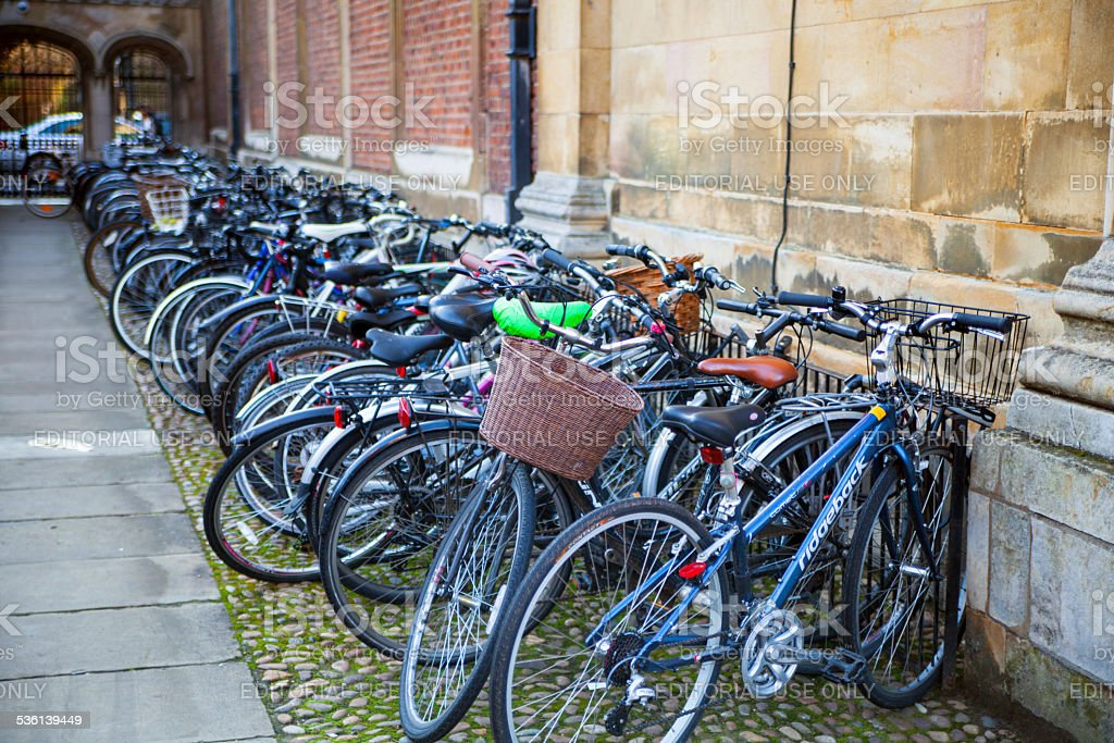 Student's bikes in Pembroke college, Cambridge stock photo