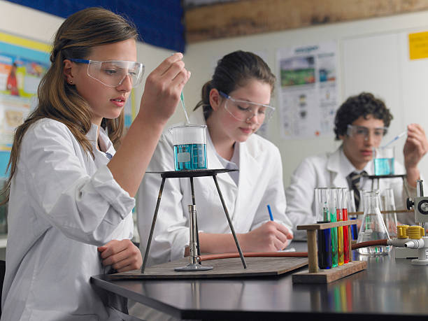 Students Caring Out Experiments In Laboratory stock photo