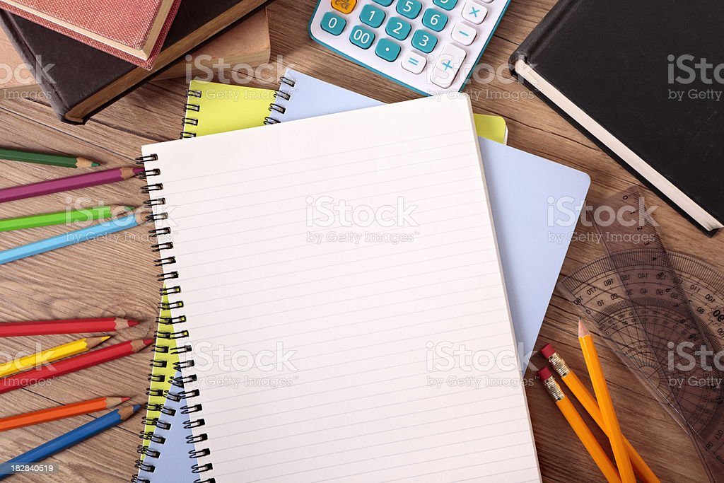 Student's desk with blank books royalty-free stock photo