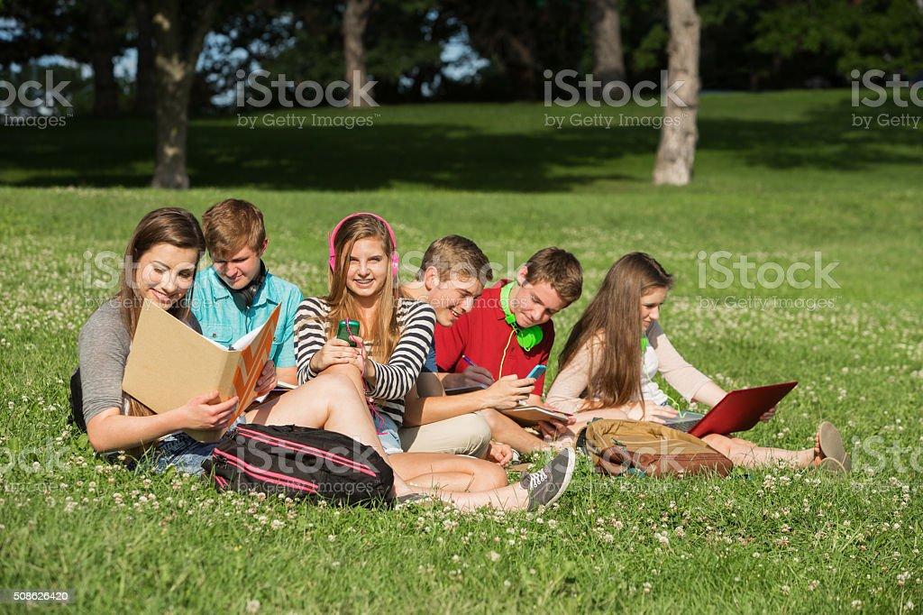 Students Doing Homework stock photo