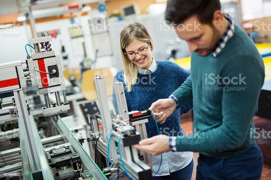 Students engineering class project stock photo