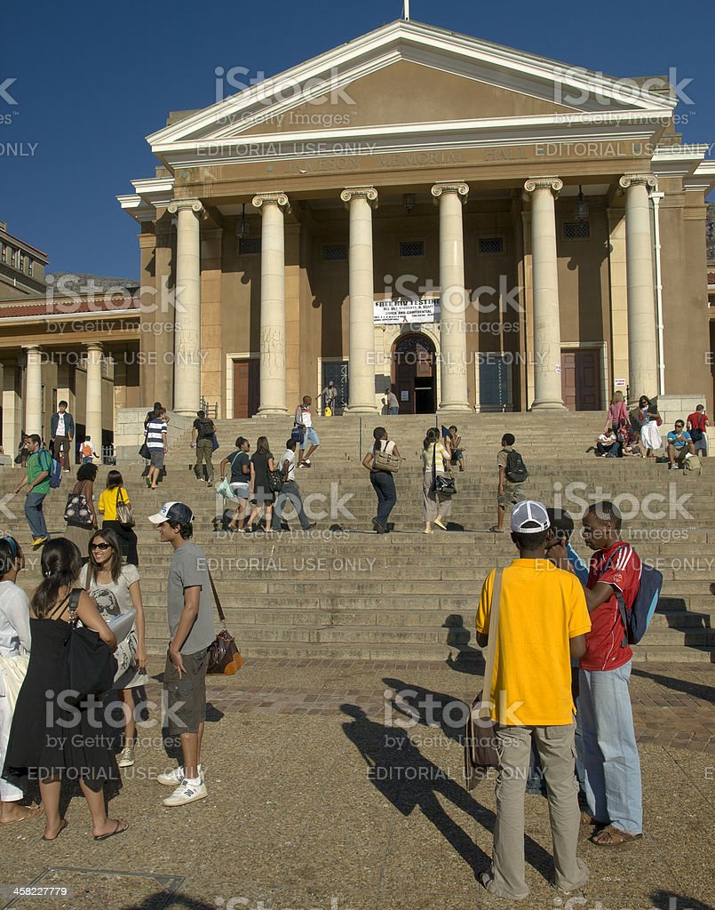 Students gather in front of Jameson Hall, UCT, Cape Town stock photo