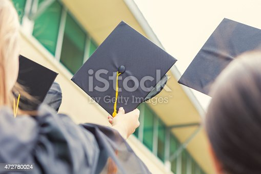 istock Students holding graduation caps in air at ceremony 472780024