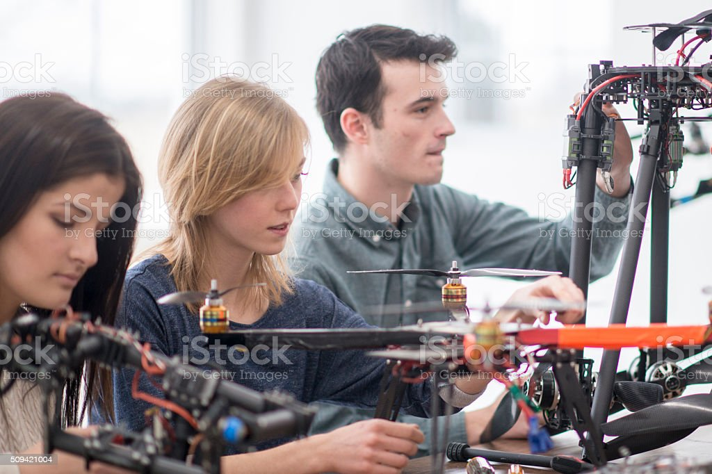 Students in a Robotics Class stock photo