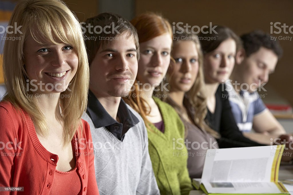Students in a row royalty-free stock photo