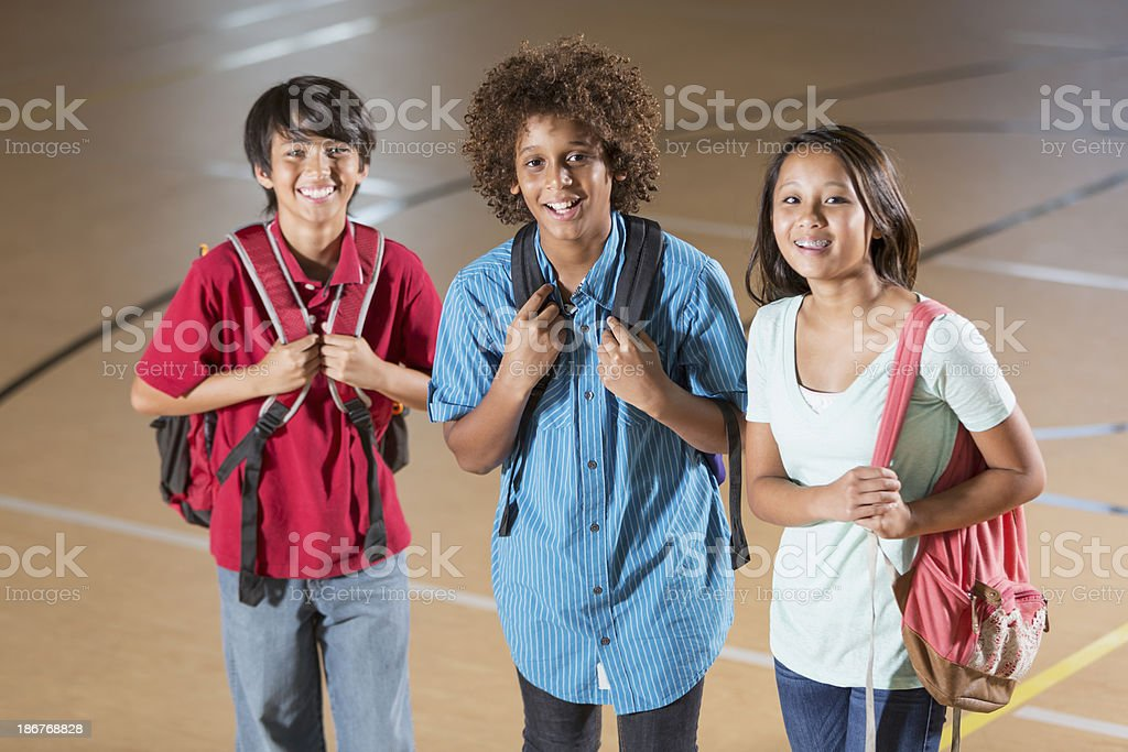 Students in gym royalty-free stock photo