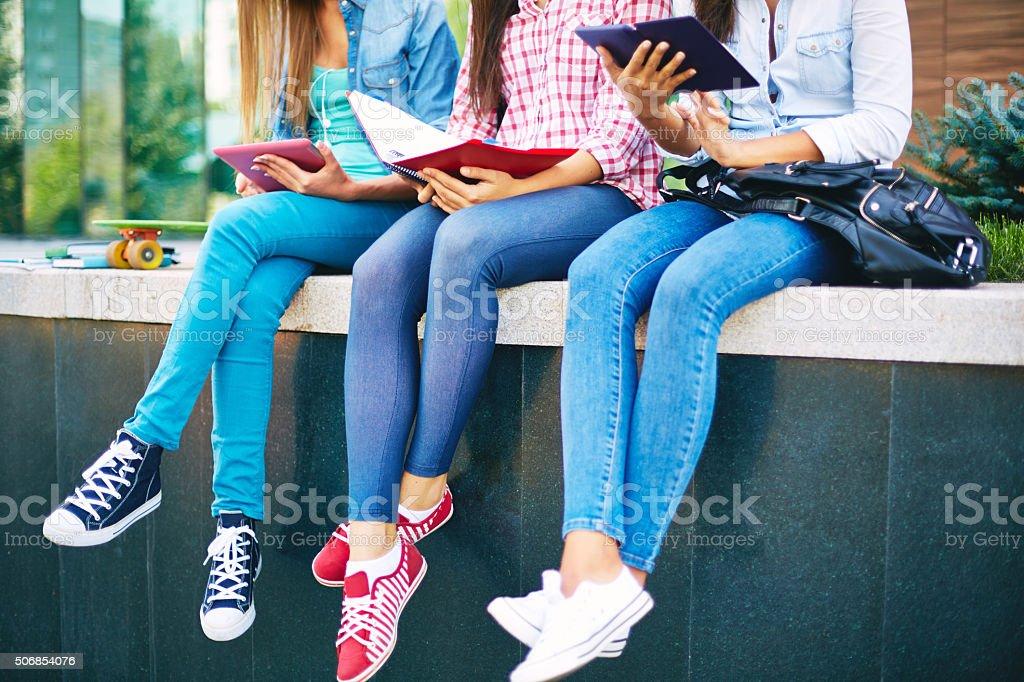 Students in jeans stock photo