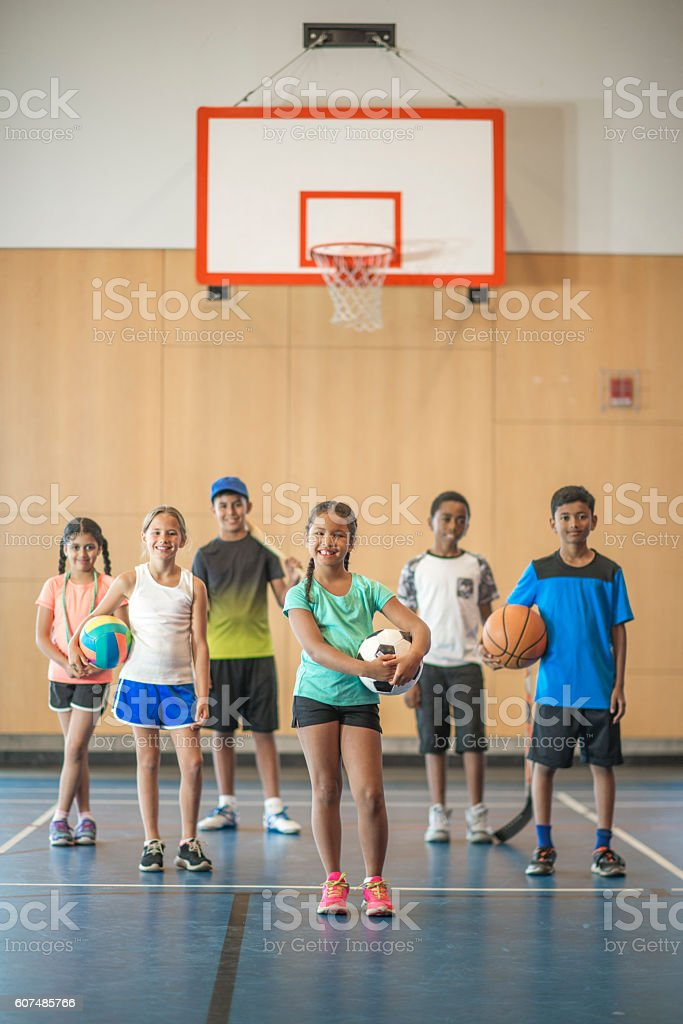 Students in the Gym stock photo