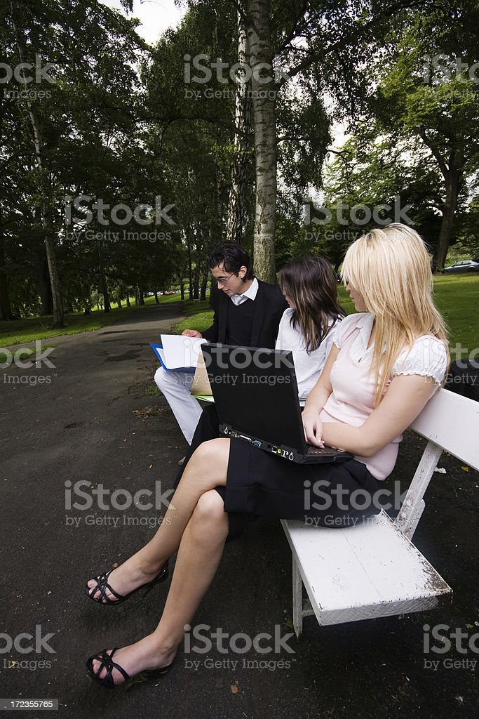 students in the park royalty-free stock photo