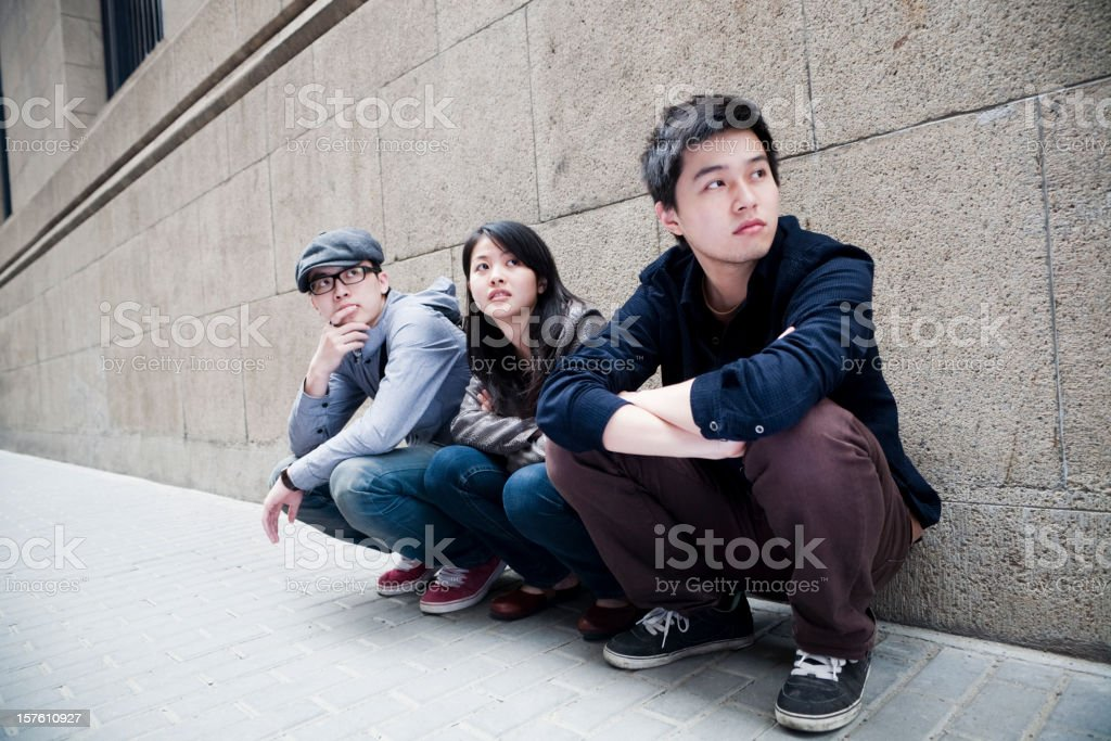 Students in the street royalty-free stock photo