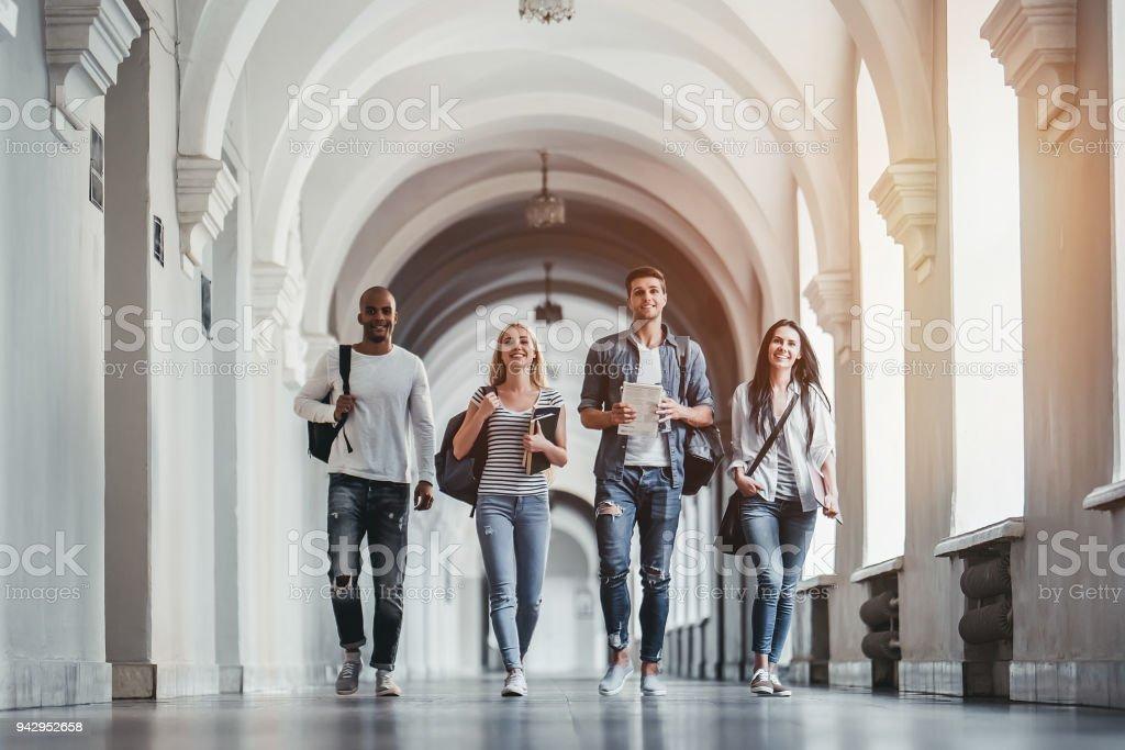 Students in university stock photo