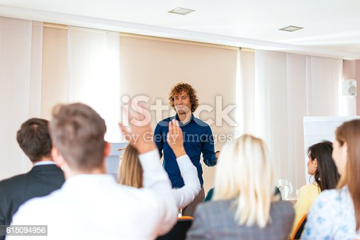 933450738 istock photo Students join the discussion on seminar 615094956