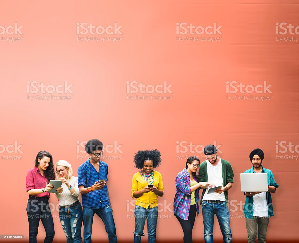 Students Learning Education Social Media Technology stock photo