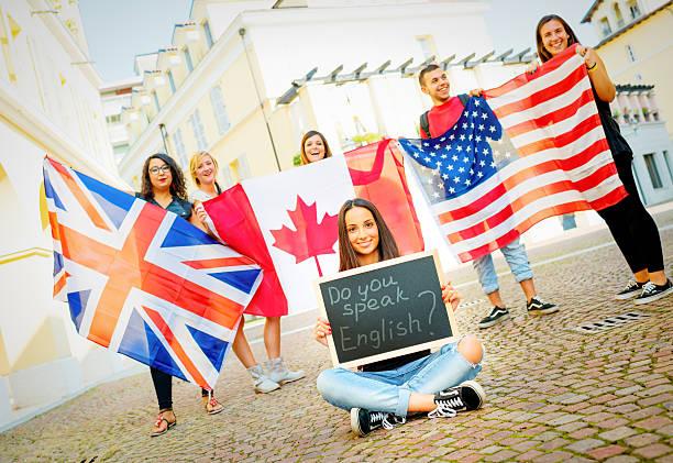 Students learning English stock photo