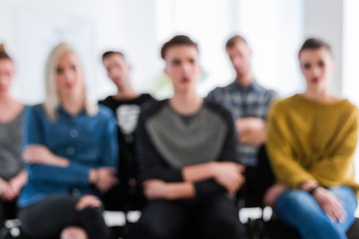 Students Listening During Therapy Session Stock Photo - Download Image Now