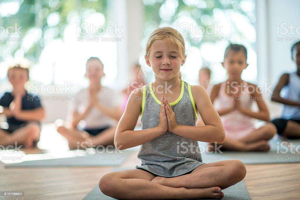 Students Meditating stock photo