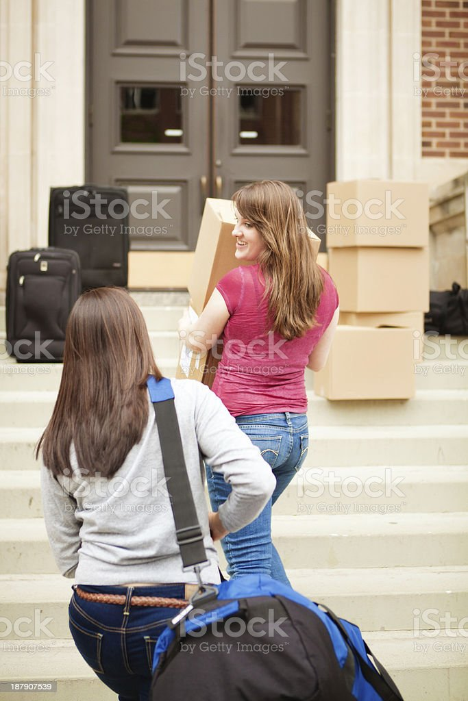 Students Moving Dormitory in University College Campus Vt royalty-free stock photo