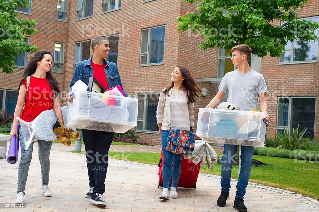 students moving in day stock photo