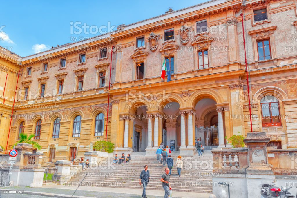 Rome, Italy - May 08, 2017 : Student's near University of Rome La Sapienza - Department of Mechanical and Aerospace Engineering. Rome. stock photo