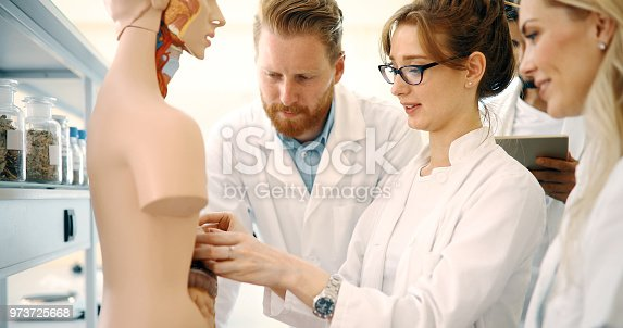 istock Students of medicine examining anatomical model in classroom 973725668